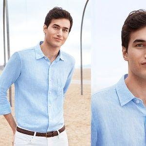 Uniqlo men's blue linen shirt size L